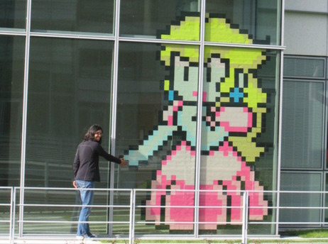 "Bien connu Game Art: ""La guerre des Post-it"" aka pixel art meets post-it (via  XP09"