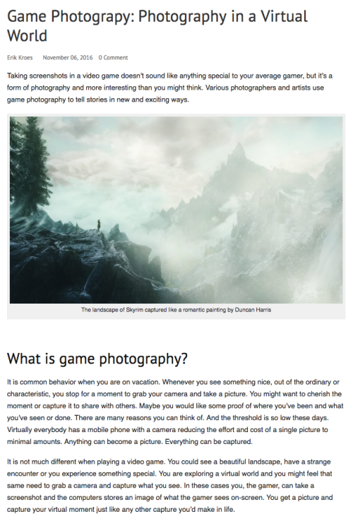 game photography introduction